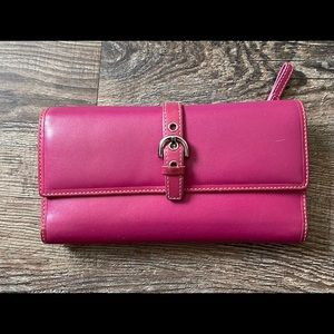 Coach Hot Pink Signature & Check Book Cover Wallet